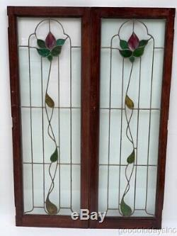Pair of Leaded & Stained Glass Cabinet Bookcase Doors / Window from Chicago