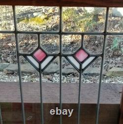 Pair of Vintage Oak Stained glass Cabinet Doors 16-3/8 X 29-5/8 X 7/8 (each)