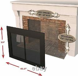 Pleasant Hearth AN-1012 Alpine Cabinet Style Fireplace Screen and Door Black