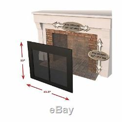Pleasant Hearth Fireplace Clear Glass Cabinet Door Alpine Small Black Finish New