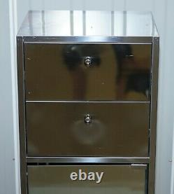 Polished Steel Medical Style Side Cabinet On Wheels With Mirrored Glass Door