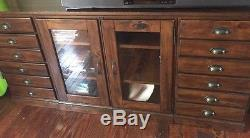 dbb6297843590 Pottery Barn PRINTER S COLLECTION Media Glass Door   3-Drawer Cabinets Stand