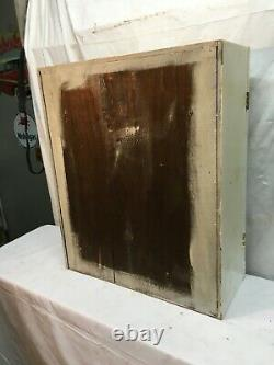 Primitive Wood Kitchen Curio Cabinet Shabby Cottage Wall Shelf with Glass Door
