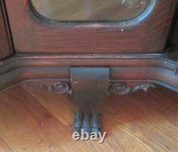 RARE Antique CORNER 2 Door Curved Glass Curio China Cabinet Claw Foot