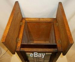 RARE Antique Mission Oak Sewing Spool Cabinet Slag Leaded Glass Door Lamp Stand