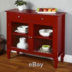 Red Buffet Console Storage Cabinet Server Wood Glass Doors Curio Display Dining