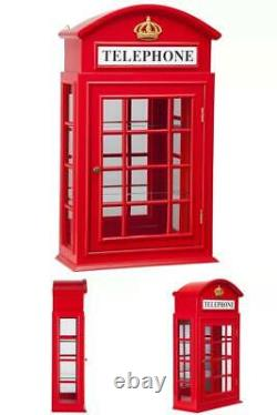 Red WALL CURIO CABINET British Telephone Booth Display Case Glass Doors Shelves