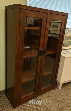 Restoration Hardware Mission Style Glass Double Door Cabinet