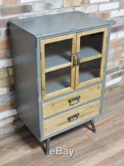 Retro Industrial Small Glazed Cabinet Grey Shabby Reclaimed 2 Door / 2 Drawer