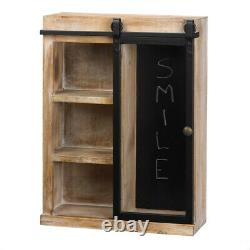 Rustic Farmhouse Style Open Wall Cabinet with Chalkboard Back withGlass Barn Door