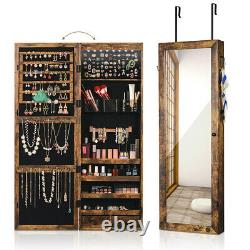 Rustic Mirror Wall Door Mounted Jewelry Cabinet Organizer Storage withLED Lockable