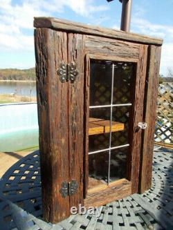 Rustic Oak Barnwood Corner Cabinet with Leaded Glass Door for Bath or Kitchen