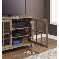 Rustic TV Stand Console 55 Inch Entertainment Center Media Glass Doors Cabinet