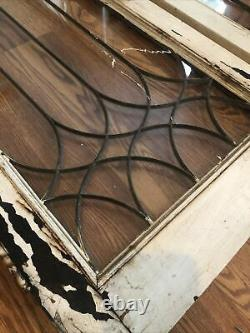 SET Antique Victorian 1900s Wood WithLeaded Glass Cabinet Doors Salvage Vintage