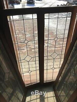 SG 2921 set of 4matching antique cabinet doors leaded beveled glass 16 X 47.75