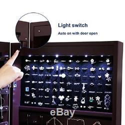 SONGMICS 6 LEDs Jewelry Cabinet Lockable Wall Door Mounted Jewelry Armoire Orga