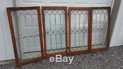 Set Of 4 matching antique leaded glass oak cabinet doors with hardware