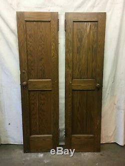 Set of 12 Thick Heavy Oak Wood School Doors Architectural Salvage Cabinet Solid