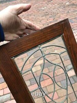 Sg 3226 Pair Antique leaded glass cabinet doors 26 x 56