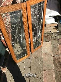 Sg 3227 Set Of 4 antique leaded glass tulip cabinet doors 13.5 x 41.25each