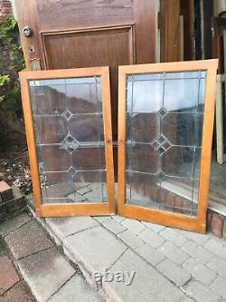 Sg 3279 2available price Each antique leaded glass cabinet door 23.75 X41.75