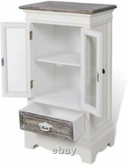 Shabby Chic Cabinet 2 Glass Doors 1 Drawer White Wooden Vintage Display Cupboard
