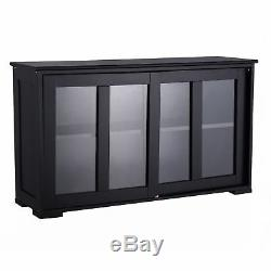 Sliding Glass Door Storage Pantry Modern Dinning Room Buffet Dish Cabinet Wood