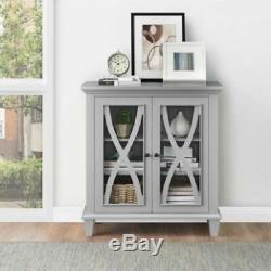 Small Accent Storage Display Cabinet 2 Glass Door 3 Shelf Antique Wood Gray