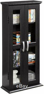 Small Bookshelf with Glass Doors Bookcase Cabinet Furniture Home Wood Black NEW