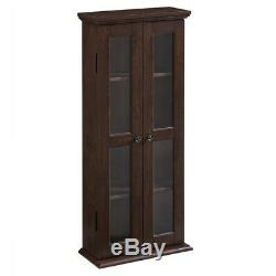 Small Bookshelf with Glass Doors Bookcase Cabinet Furniture Home Wood Brown NEW