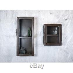 Small Kisari Wall Hanging Storage Cabinet with Glass Door by Nkuku