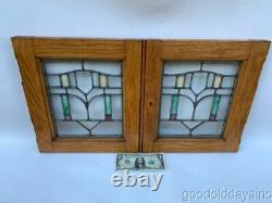 Small Pair of Antique Stained Leaded Beveled Glass Oak Cabinet Doors / Windows