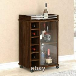Small Portable Wine Bar Cabinet Glass Door Tray Top Liquor Bottle Trolley Brown