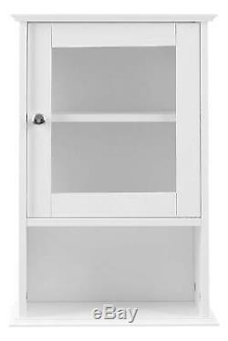 Small Wall Display Cabinet White Vintage Shabby Chic Storage Cupboard Glass Door