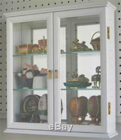 Small Wall Mounted Curio Cabinet / Wall Display Case with glass door White