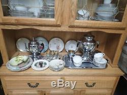 Solid oak lighted china cabinet with glass doors & lighted top pick-up in MI