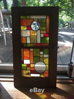 Stained Glass Frank Lloyd Wright Style in Old Cabinet Door