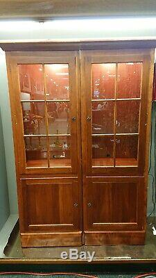 Stickley Two Door Cherry wood China Cabinet /Bookcase Rare! Paired corner units