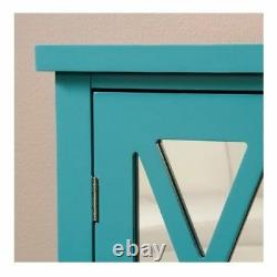Storage Accent Cabinet Mirrored 2 Door Chest Table Furniture Blue Wood Shelves