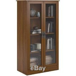 Storage Bookcase Cabinet with 4 Shelves Glass Doors Wood Composite Furniture New