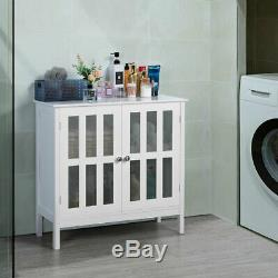 Storage Buffet Cabinet Glass Door Sideboard Console Table Server Display White