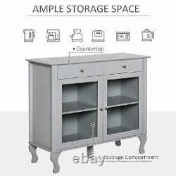 Storage Cabinet Serving Buffet Dining Sideboard with Glass Doors & Drawers