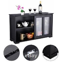 Storage Cabinet Sideboard Buffet Cupboard Glass Sliding Door Pantry Kitchen