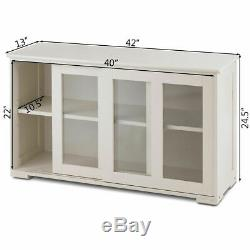 Storage Cabinet Sideboard Buffet Cupboard Glass Sliding Door Pantry Kitchen New