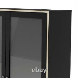Stubbe 2 Glass Door China Cabinet with 3 Drawers in Black Matte/Oak Structure