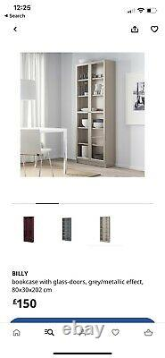 TALL Billy Bookcase attractive GLASS DISPLAY 2 door or KITCHEN CABINET Grey
