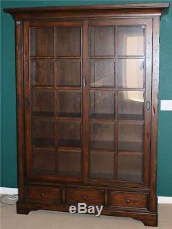 Tall Library China Cabinet Dark Finish Solid Wood Gl