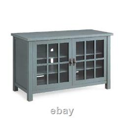 TV Stand Console Buffet Cabinet Blue Media Wood Entertainment Center with Doors