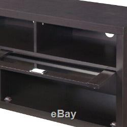 TV Stand with Glass Cabinet Doors with Shelves Entertainment Unit Furniture