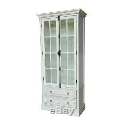 Two Stately 78 Aged White Wood Curio Cabinet Vintage Glass French Door Style